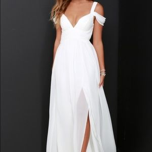Lulu's Bariano Ocean of Elegance Ivory Maxi Dress